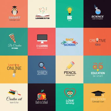 Set of education icons. Vector