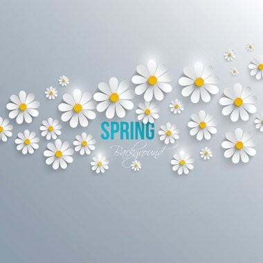Abstract spring background with paper flowers. Vector clip art vector