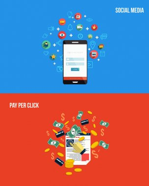 Icons for pay per click and social media. Flat style. Vector