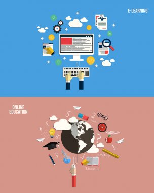 Icons for online education and e-learning. Flat style