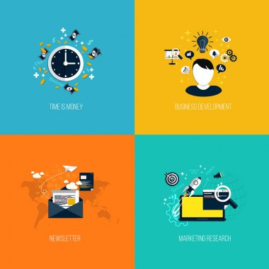 Icons for time is money, business development, newsletter and ma