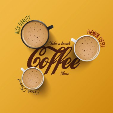 Coffee  background with realistic cup of coffee