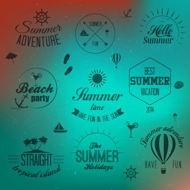 Summer holidays design elements and typography design. Retro and vintage templates. Flourishes calligraphic ornaments, labels, badges, cards. Vector clip art vector