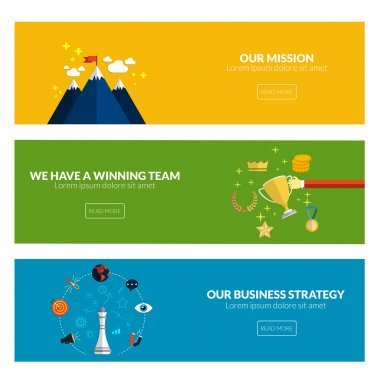 Flat designed banners for our mission, we have a winning team and our business strategy. Vector stock vector