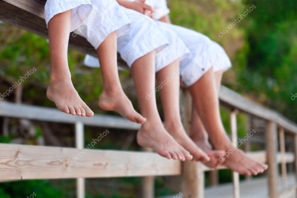 Photos of bare feet,