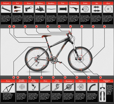 High detailed scheme of hardtail MTB