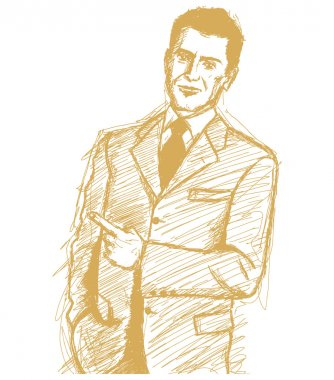 Sketch Business Man Shows Something With Finger