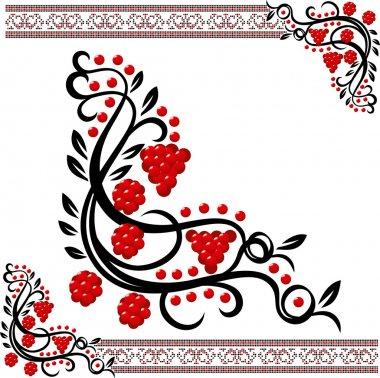 Vector traditional ukrainian pattern with guelder-rose clip art vector