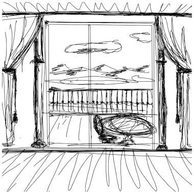 Vector Sketch background with interior