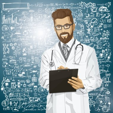 Vector hipster doctor man writing something with marker on clipboard stock vector