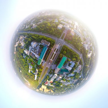 Aerial city view from air - little planet mode