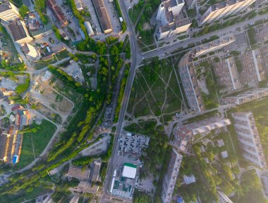 Aerial city view from air (helicopter)