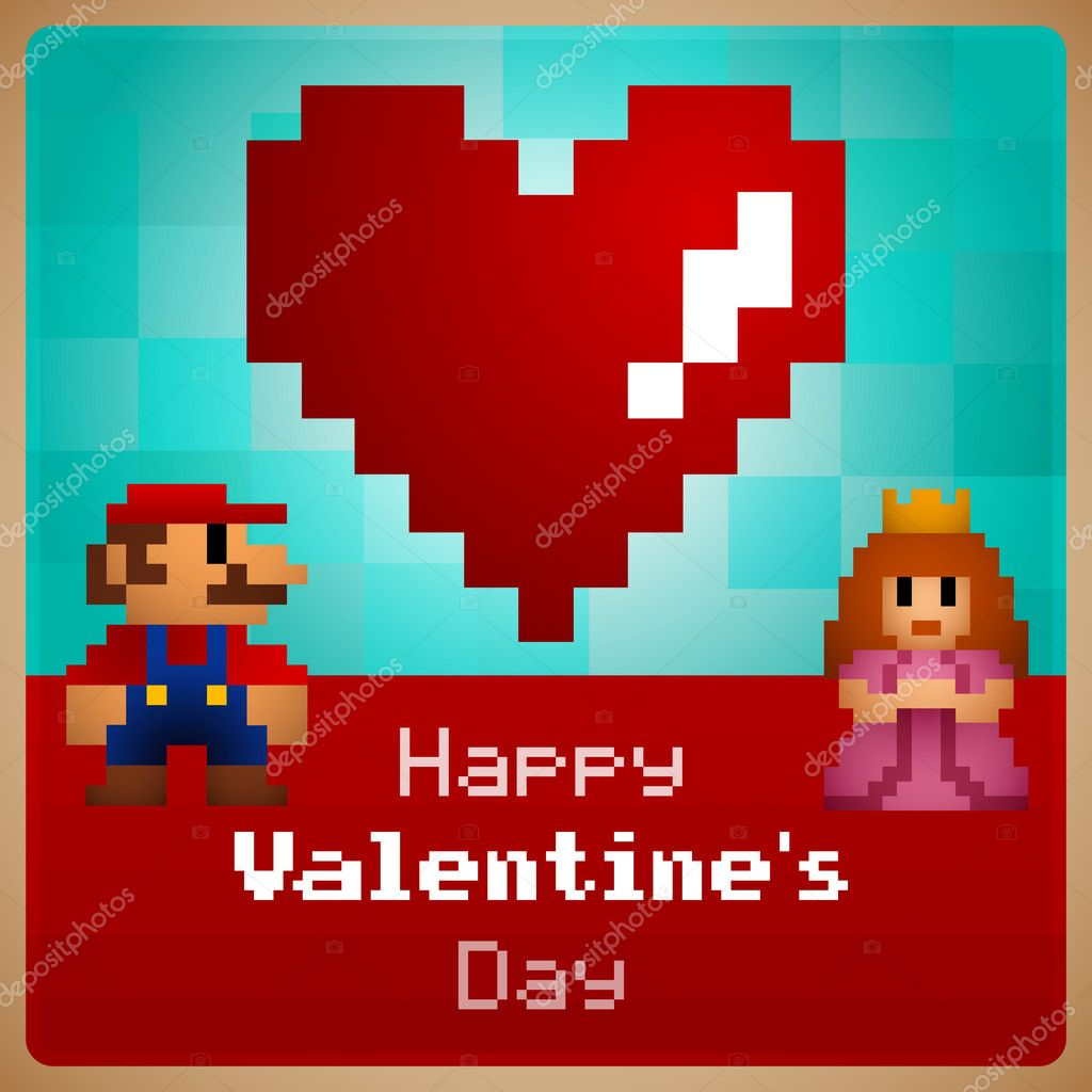 Video game Valentine's Day greeting card