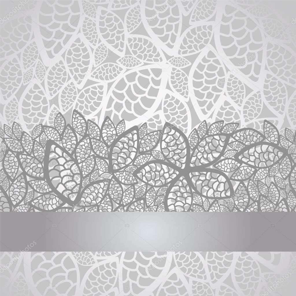 luxury silver leaves lace border and background stock vector lina s 13119898. Black Bedroom Furniture Sets. Home Design Ideas