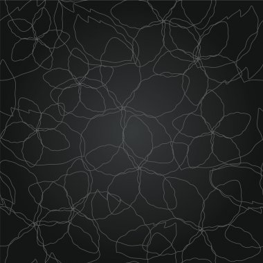 Seamless floral thin silver lines black wallpaper