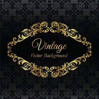Golden vintage frame on black seamless wallpaper pattern