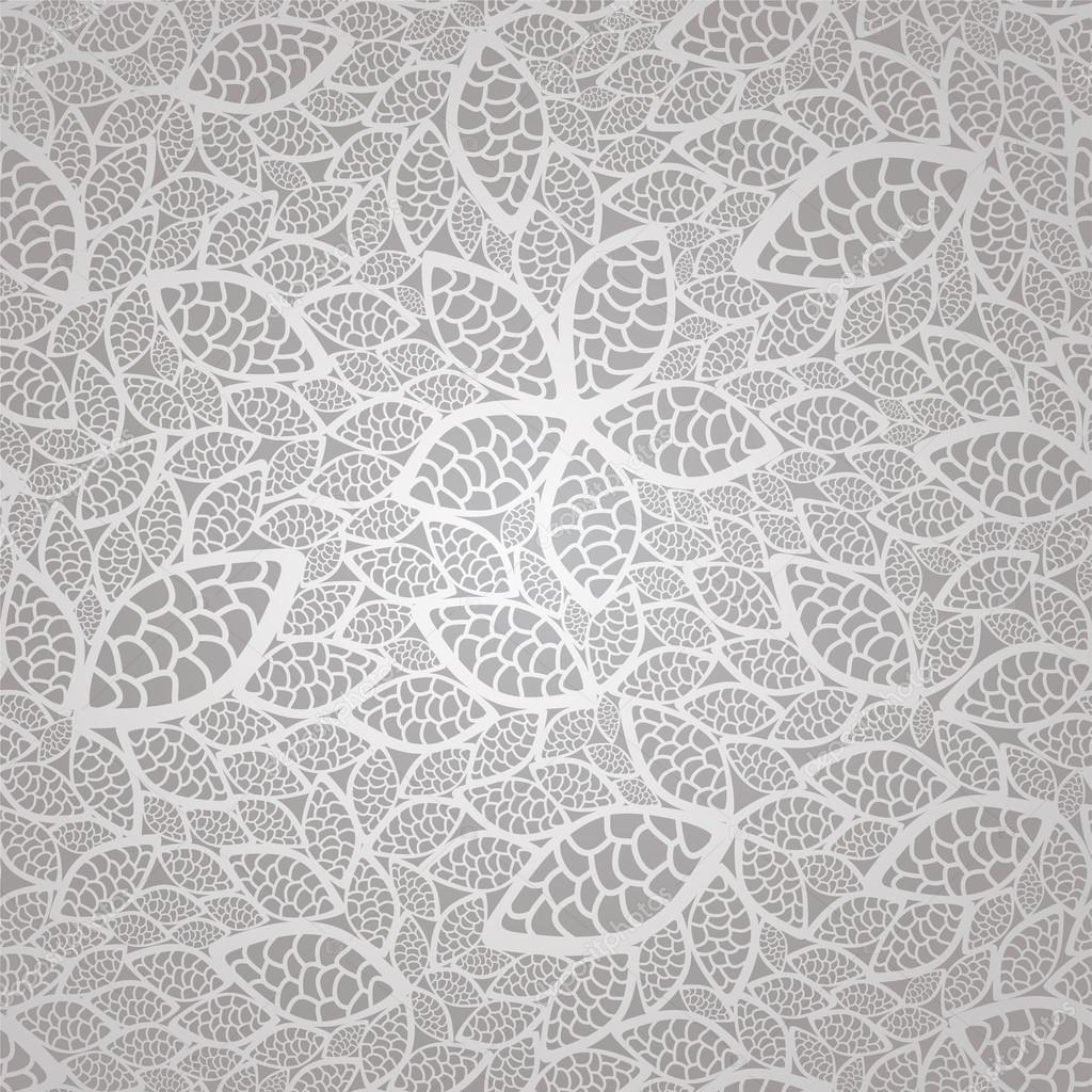 Seamless vintage silver lace leaves wallpaper pattern
