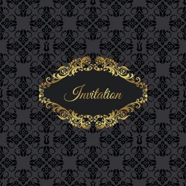 Golden vintage frame invitation on black seamless pattern