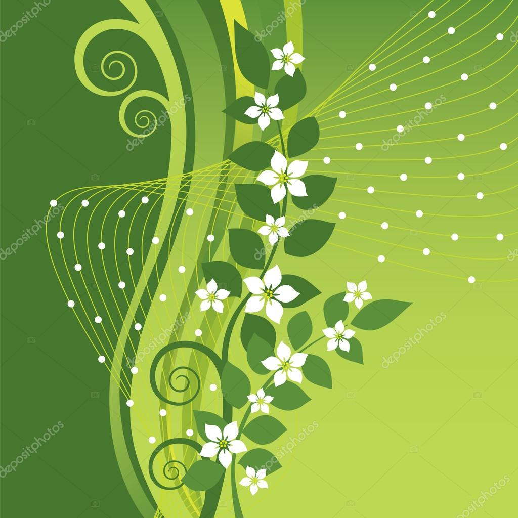 White Jasmine Flowers On Green Swirls Background