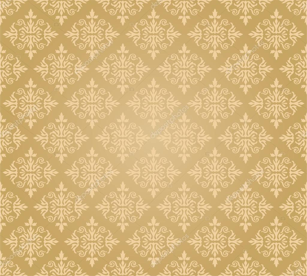 Seamless Golden Floral Wallpaper Diamond Pattern Stock Vector