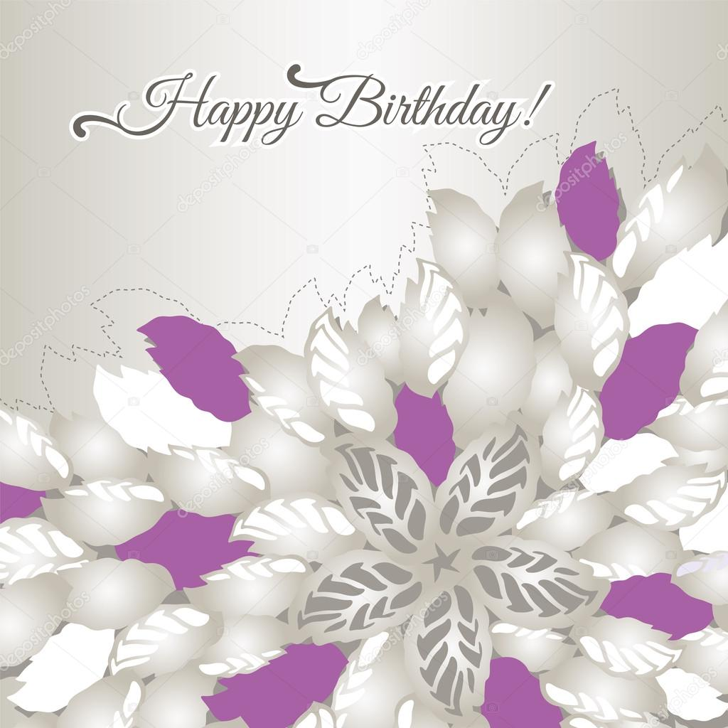 Happy Birthday card with pink flowers and leaves Vector – Birthday Cards with Flowers