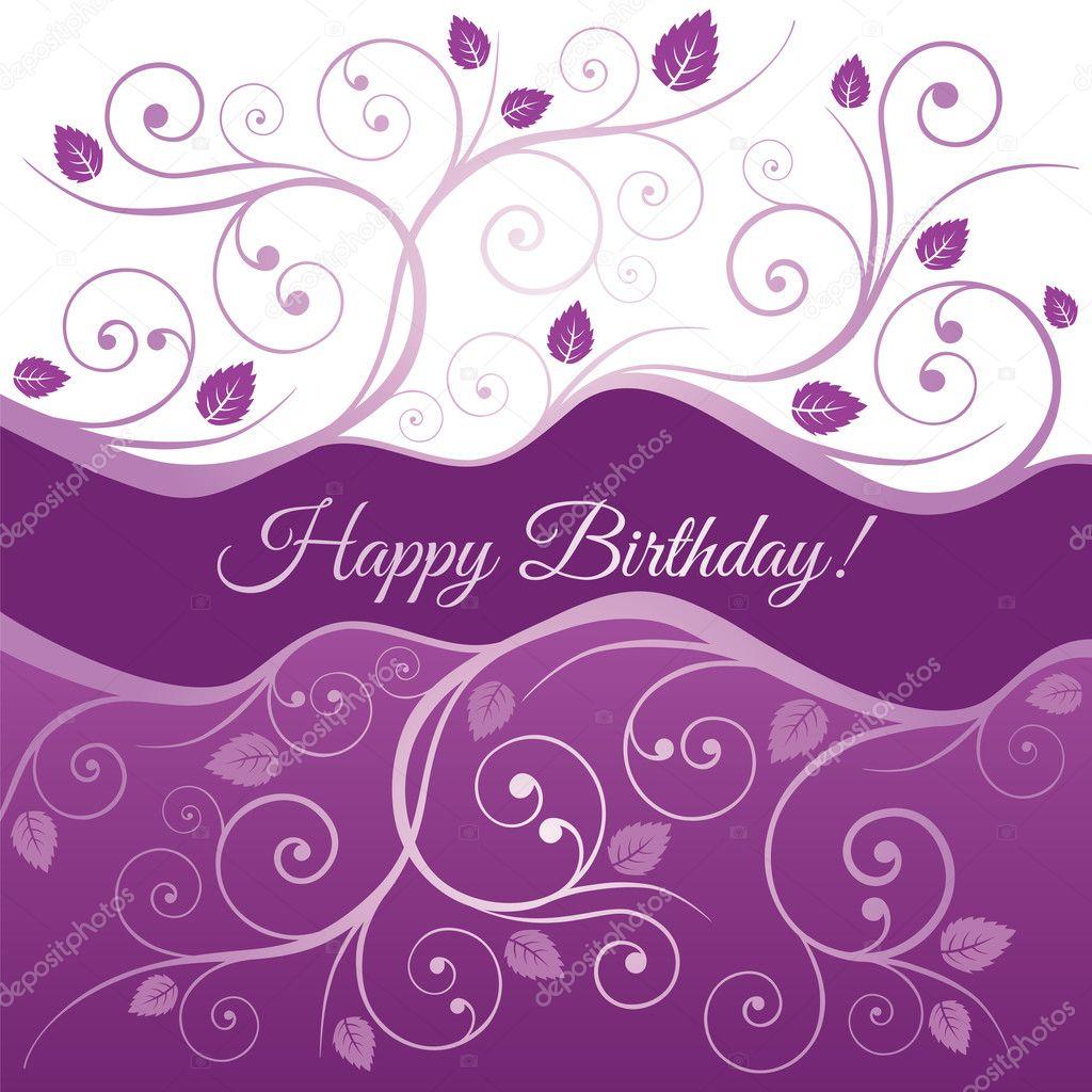 tarjeta del feliz cumpleaños con remolinos de color rosas y púrpuras ...