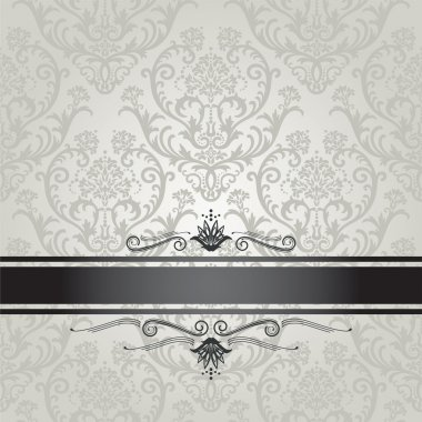Luxury silver floral wallpaper pattern with black border