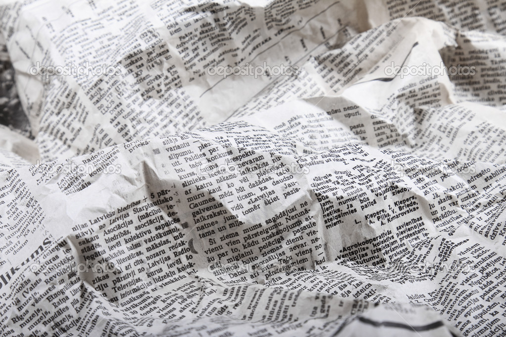Très Background of old crumpled newspaper — Stock Photo © ronstik #23292430 RO39