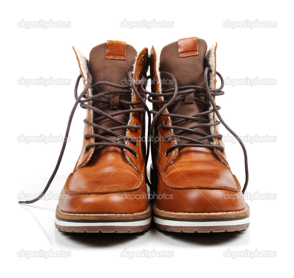 braun Leder Herren Stiefel isoliert auf weiss — Stockfoto © ronstik ... c31f624378