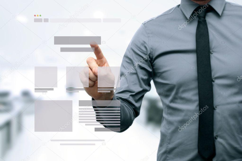 Designer präsentieren Website Entwicklung Drahtmodell — Stockfoto ...