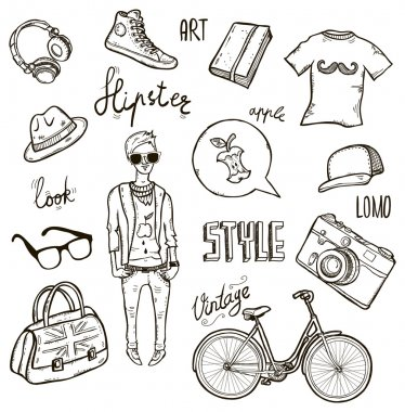 Set of hipster's style elements