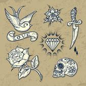 Fényképek Állítsa be a régi iskola tetoválás elemek