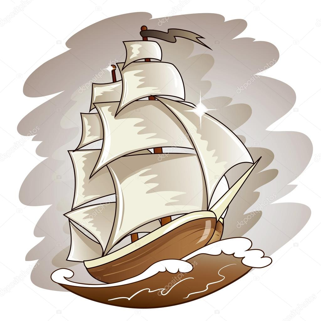 Sailing boat floating on water surface. Vector color illustration. — Stock Vector © igorij #44094751