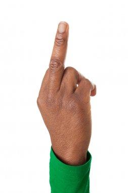 Upturned middle finger