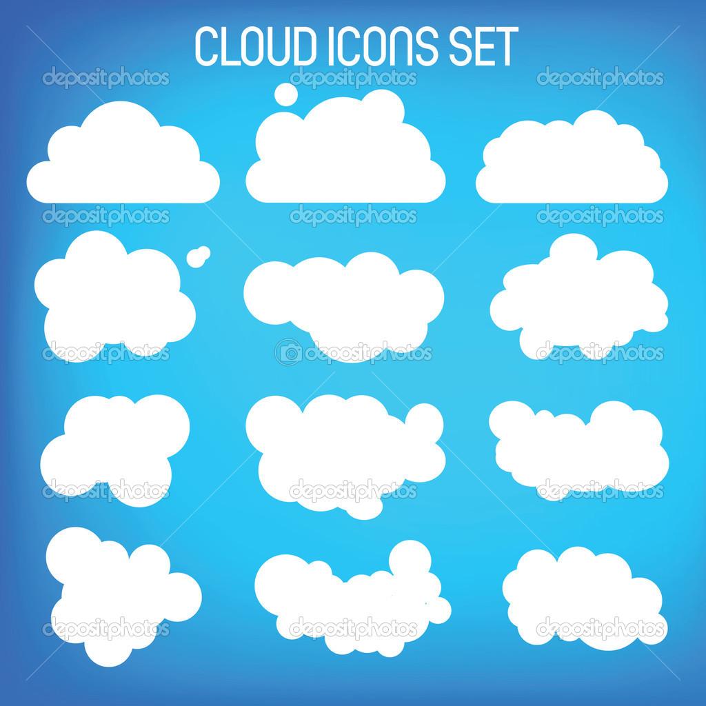 Set of twelwe flat-styled clouds.
