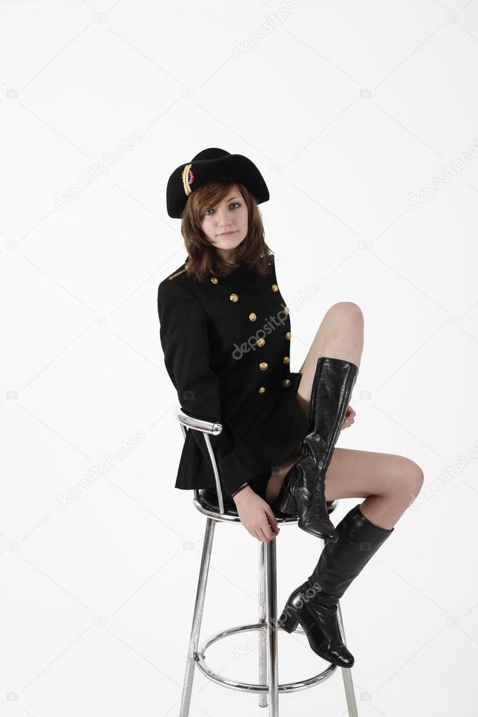 Young girl in french black hight school uniform — Stock