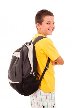 School boy with backpack, isolated on white