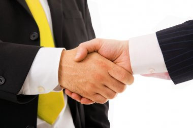 Two businessman shaking hands on white background