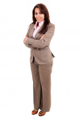 Young business woman full length isolated on white