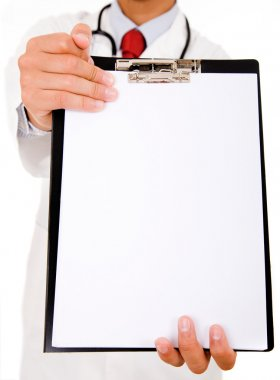 Doctor showing blank clipboard to write it on your personal mess