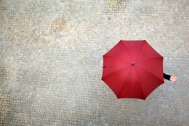 Business woman hidden under umbrella and checking if it's rainin