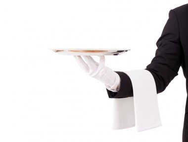 Professional waiter holding an empty dish. Isolated on white bac