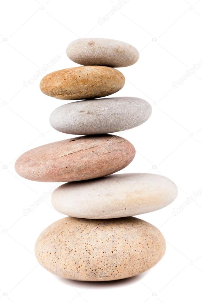 Pile of spa stones isolated on white background