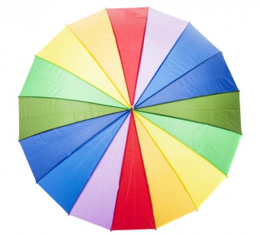 Open multicolored umbrella isolated on white background