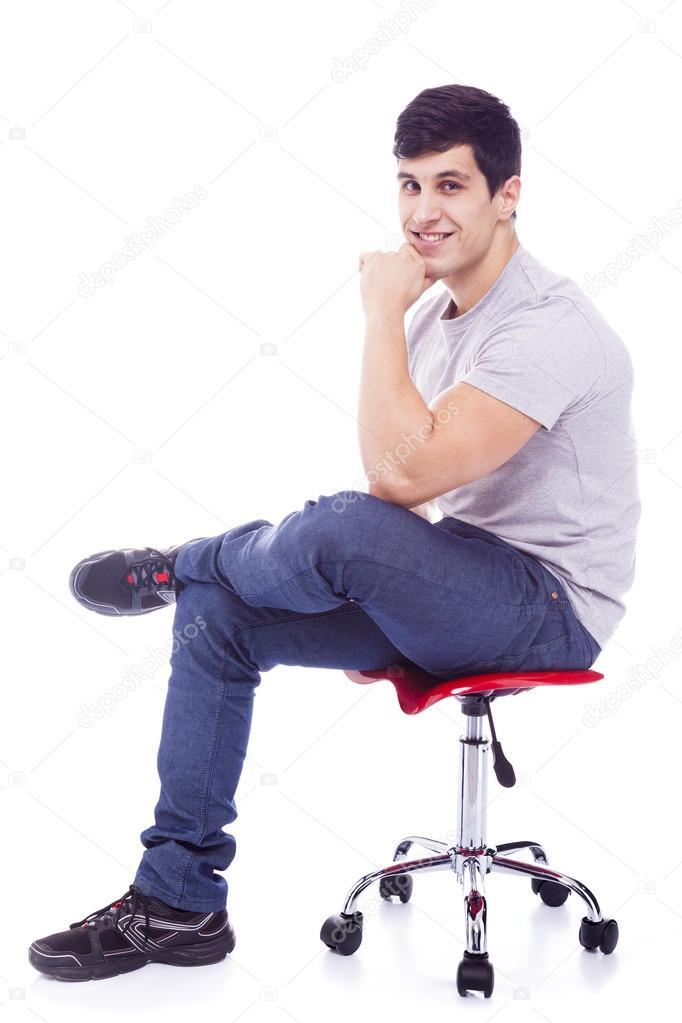 Latein Mann Sitzt Auf Einem Stuhl Stockfoto Cristovao 42048863