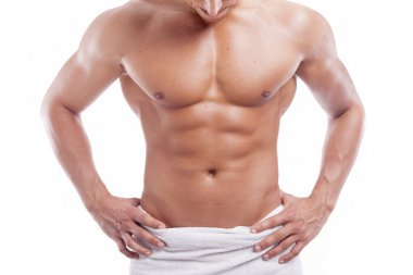 Muscular man in towel