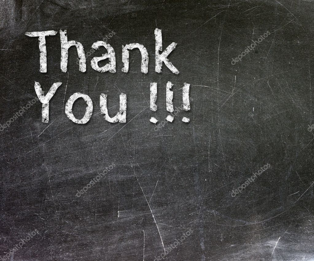 Thank You handwritten with white chalk on a blackboard.