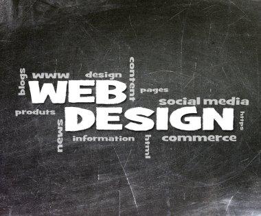 Web Design handwritten with white chalk on a blackboard.