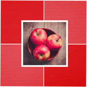 Fotografie Sweet red apple in the bowl