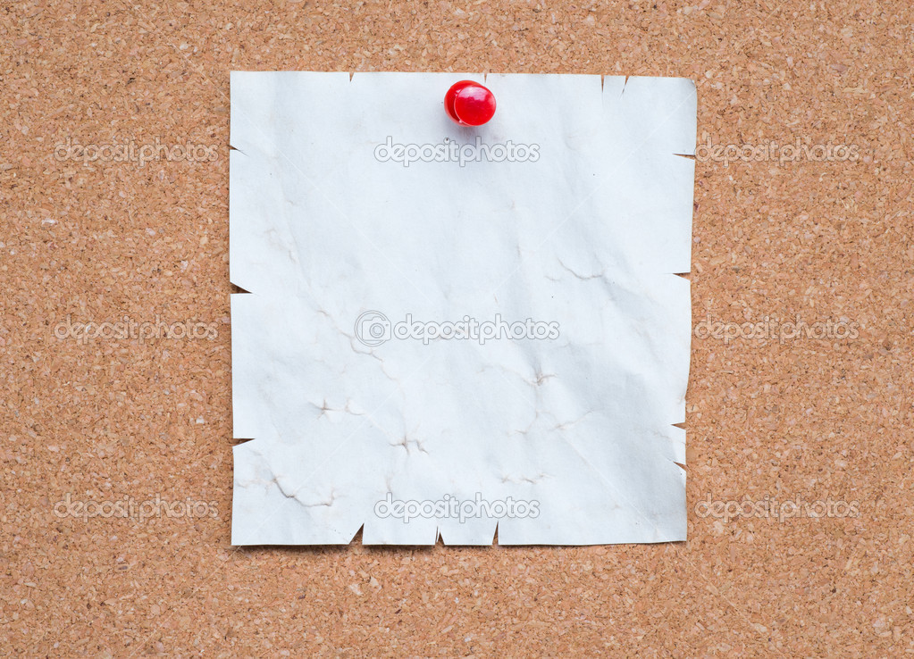 blank notebook paper pinned to the cork board stock photo